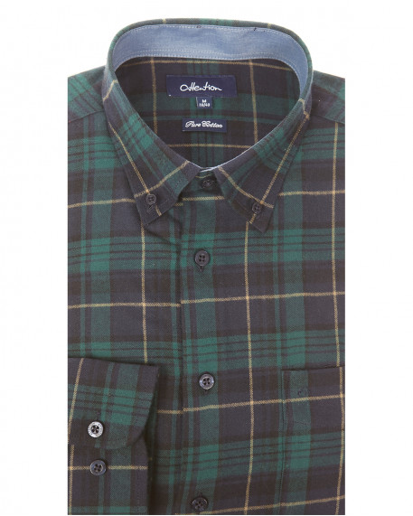 Attention flannel καρό button down πουκάμισο classic fit 2e73b78ecf4