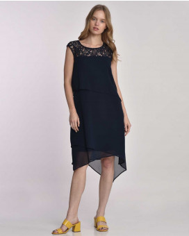Minimal line and lace dress