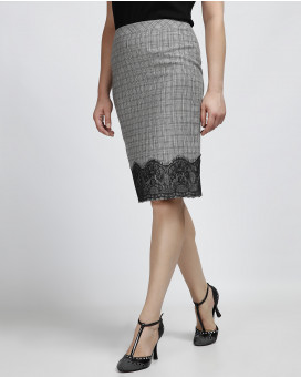 Lace detailed pencil φούστα