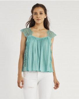 Lace pleated cropped τοπ