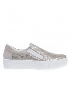 Metallic floral slip on loafers
