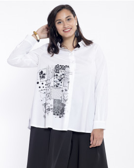 PLUS SIZE-Black and white shirt