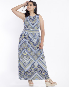 PLUS SIZE-Tribal printed draped maxi dress