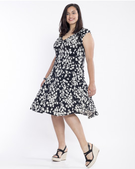 PLUS SIZE-Floral printed draped φόρεμα