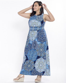 PLUS SIZE-Tribal printed maxi φόρεμα