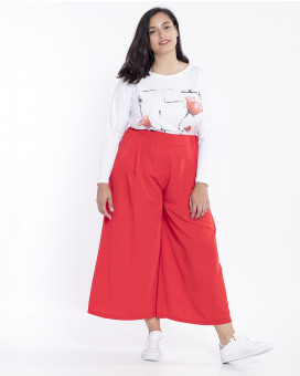 PLUS SIZE-Wide leg pleated παντελόνα