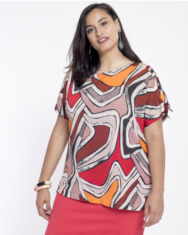 PLUS SIZE-Abstract retro printed τοπ