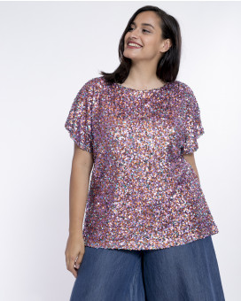 PLUS SIZE-Sparkly sequin τοπ
