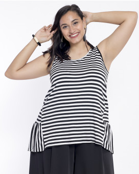PLUS SIZE-Striped ruffled τοπ