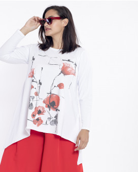 PLUS SIZE-Graphic style floral printed τοπ