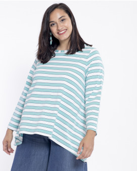 PLUS SIZE-Asymmetric striped τοπ
