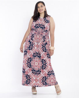 PLUS SIZE-Paisley printed maxi dress
