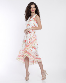 Ruffled floral printed striped φόρεμα