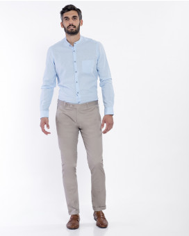 Formal cotton cuffed παντελόνι slim fit