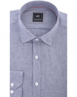 Hidden button down pied de poule linen πουκάμισο slim fit