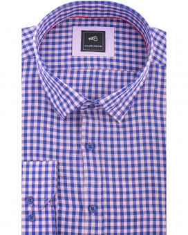 Hidden button down linen gingham καρό πουκάμισο slim fit