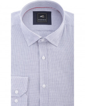 Hidden button down linen tattersall καρό πουκάμισο slim fit