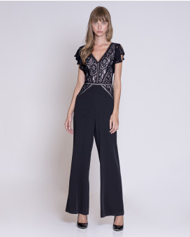 Lace and ruffles detailed jumpsuit