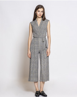 Checked draped jumpsuit