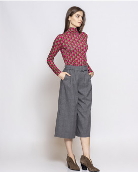 Wide leg cropped καρό παντελόνι