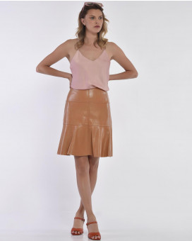 Eco leather nude φούστα