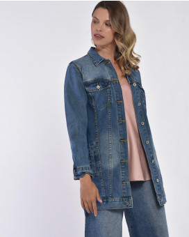 Oversized single color denim jacket