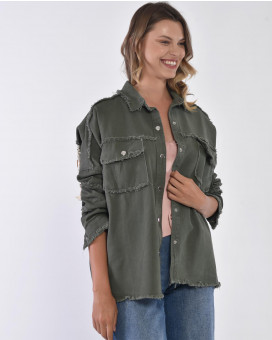 Army style denim jacket