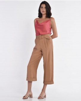 Wide leg cropped παντελόνι