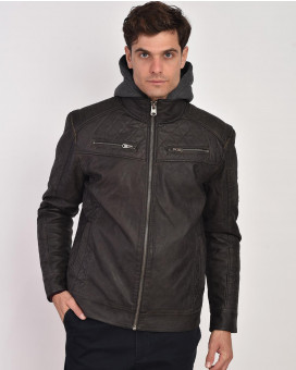 Eco leather jacket modern fit