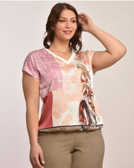 PLUS SIZE - Floral printed τοπ