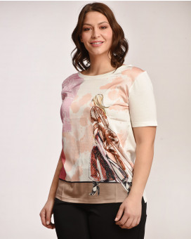 PLUS SIZE -Abstract printed τοπ