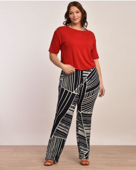 PLUS SIZE-Abstract printed παντελόνι