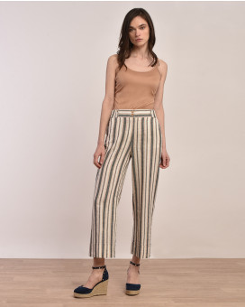 Wide leg linen striped παντελόνι
