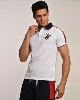 Polo t-shirt contrast collar modern fit