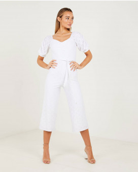 Pointelle cropped jumpsuit