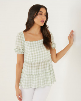 Grunge style checked top