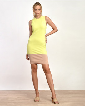 Stretch summer knit two toned dress