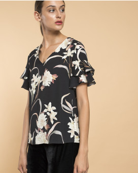 Floral printed ruffled τοπ