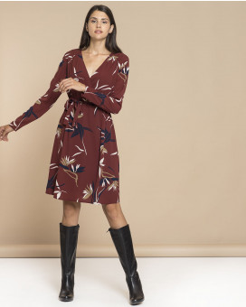 Leaf printed wrap dress