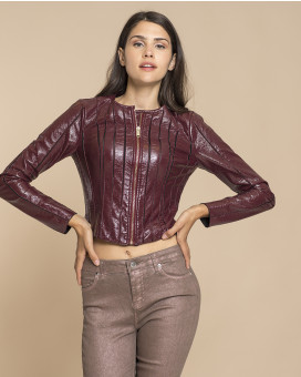 Metallic leather style cropped jacket