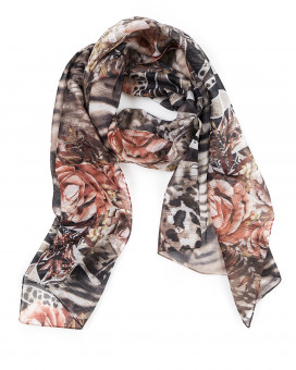 Floral and leopard printed μαντήλι