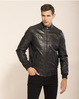 River and Blake sheep leather bomber jacket slim fit