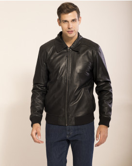 Mauro Boano lamp nappa leather bomber jacket