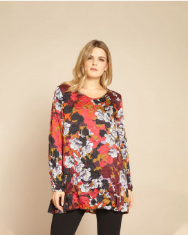 PLUS SIZE- Floral printed wrinkled style τοπ