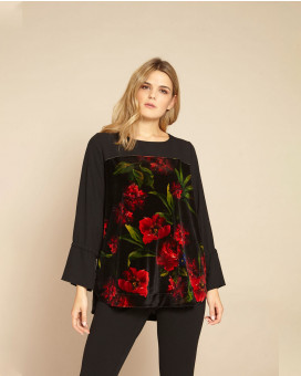PLUS SIZE- Floral printed τοπ