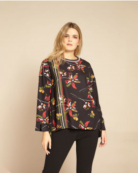 PLUS SIZE-Asymmetric abstract floral printed τοπ e68d67de007