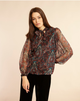Paisley printed see through τοπ