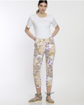 Floral printed cotton παντελόνι