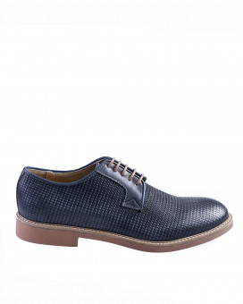Woven style leather derby shoes
