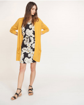 Single color long cardigan